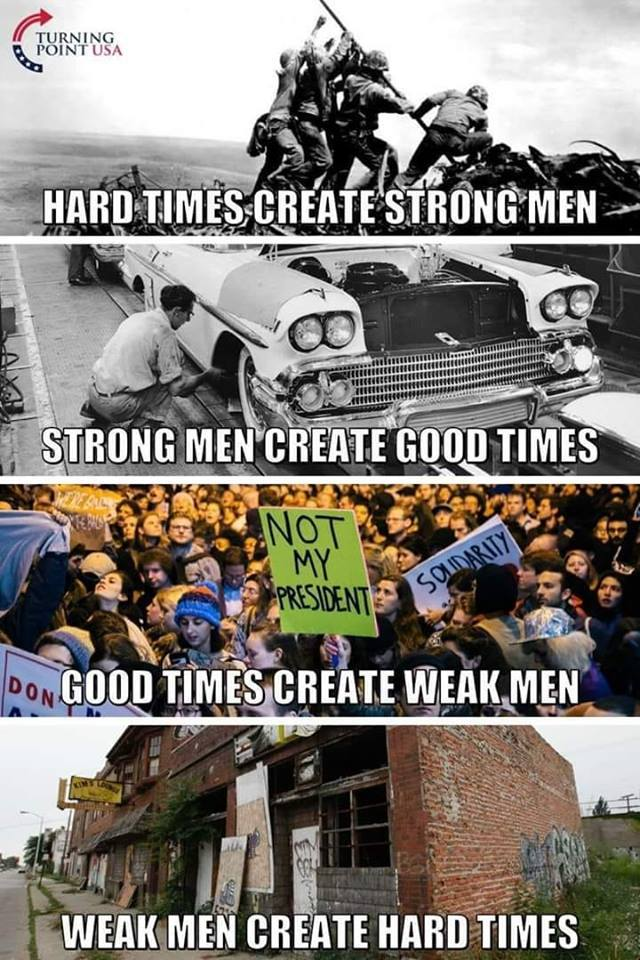 Hard times create strong men...
